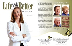 Magazine spread with patient makeover feature