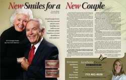 Al and Georgia patients showing off smiles in magazine